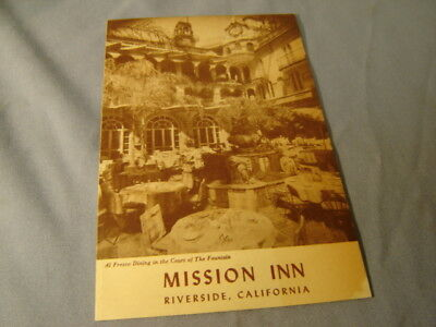Vintage The Mission Inn Riverside California Menu From 1950 Scrapbook