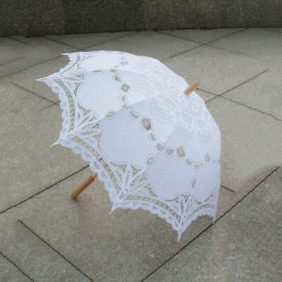 80cm Victorian Lace Embroidery Wedding Umbrella Bridal Parasol, white V8C6