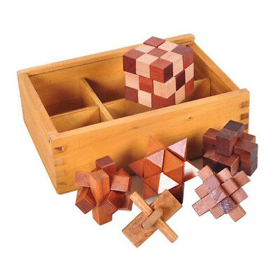6PCS/Set Wooden Puzzle IQ Brain Teaser Burr Interlocking Puzzles Game Toys D1G8