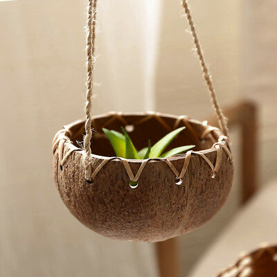 Natural Coconut Shell Pot Holder Plant Hanger Hanging Planter Basket Rope Craft
