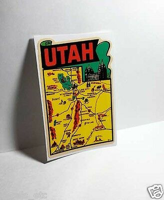 State of Utah Vintage Style Travel Decal, Vinyl Sticker, luggage label