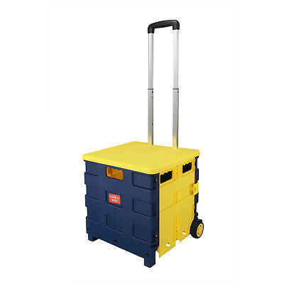 Yellow Folding Collapsible Shopping Market Cart Storage Case &Lid 20KG Avaliable