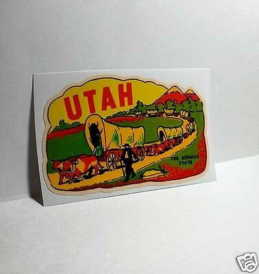 UTAH The Beehive State, Vintage Style Travel Decal, Vinyl Sticker, luggage label