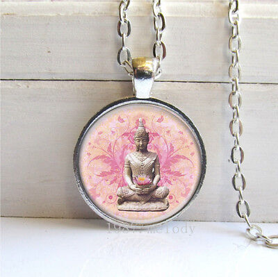 Vintage Cabochon Glass necklace Buddha Silver/Black/bronze pendants  Sakyamuni