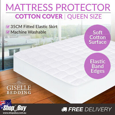 Cotton Mattress Protector Cover Adult Kid Child Bed Topper Queen
