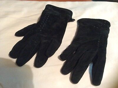 Vintage Black Shell Leather Gloves Petite Fit
