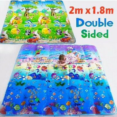 Kid Play Mat Floor Activity Rug HUGE Double Sides Ocean Animals 2mx1.8m 283HC