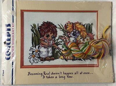 Jody Bergsma Becoming Real Crewel Embroidery Kit & Mat Pony Rabbit Child Vintage