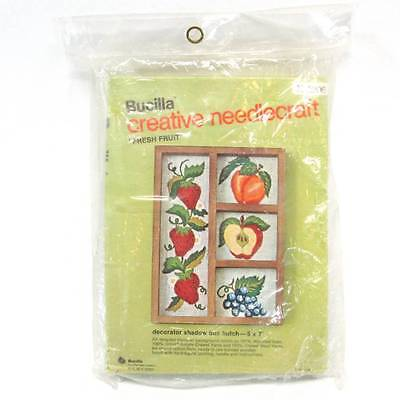 Bucilla Fresh Fruit Stamped Embroidery Shadow Box Kit 2206 Strawberries Grapes