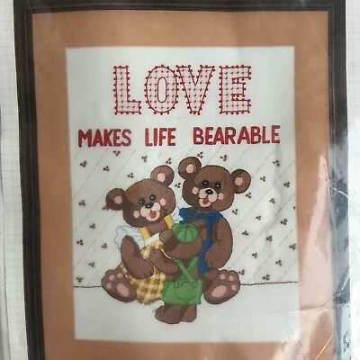 Bucilla Love Makes Life Bearable Stamped Crewel Embroidery Kit 49610 Teddy Bears