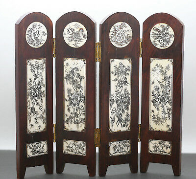Superb Antique Chinese Miniature Screen Hand Carved  Hard Wood & Buffalo Bones