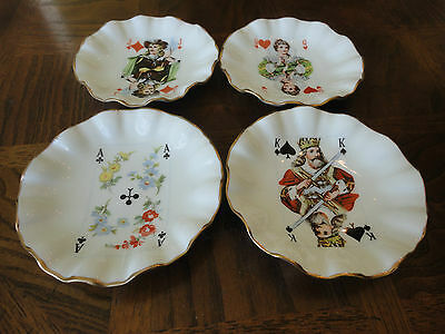 Vintage 4 Jubilee Bone China Poker Collectable Plates, England, No Sale Tax
