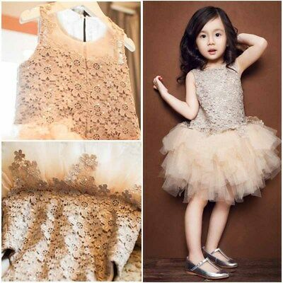 Cute Kid Baby Girl Princess Dress Lace Tutu Skirt Hollow Casual Wedding Party