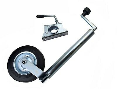 Jockey Wheel 48mm and Split Clamp Galvanised Steel Wind Up Trailer Caravan Stand