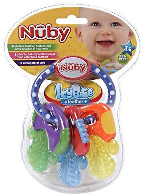 Nuby Icybite Keys Teether Baby Soother Teether 3mths+ Cool Gel Teething Toy Nuby