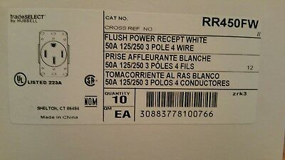 10 Pack 50 Amp 125/250 3 Pole 4 Wire Range Receptacle White
