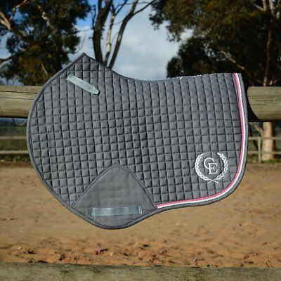 Caboose Equestrian Signature Close Contact Jump Saddle Pad - Titanium w/ Pink