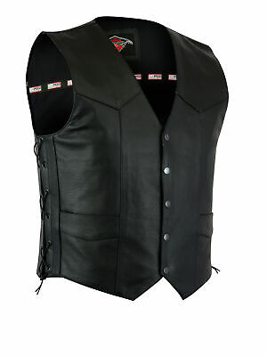 Mens Black Quality 4 Pocket Leather Motorcycle Biker Classic Waistcoat