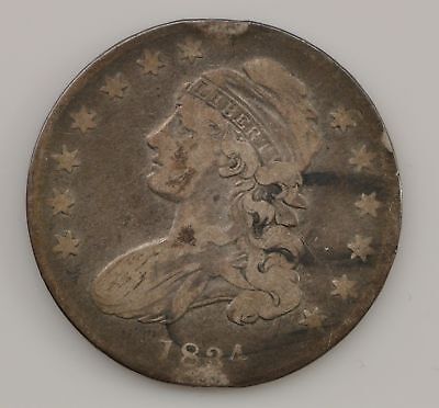 1834 Capped Bust *Small Date, Stars, Letters* Silver Half Dollar *Q40
