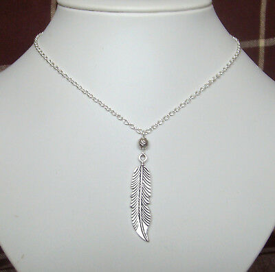 """Large Silver Feather Charm and Starry Bead 15"""" Chain Necklace in Gift Bag"""