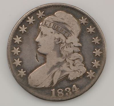 1834 Capped Bust *Large Date, Letters* Silver Half Dollar *Q63
