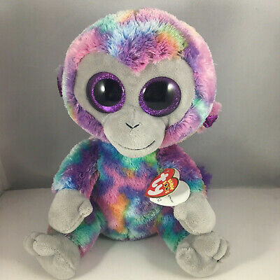 "Ty 9"" Medium ZURI Colorful Monkey Beanie Boos Plush Stuffed Animal Toy MWMT's"