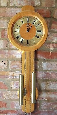 """Vintage German """"FHS"""" 8-Day Weight Operated Striking Light Oak Case Wall Clock"""