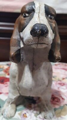 Antique Cast Iron Basset Hound Dog Door Stop