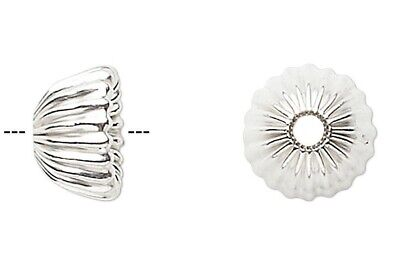 4 Sterling Silver Corrugated Bell Bead Caps / 7.5x4mm / Fits 6-7mm Beads *