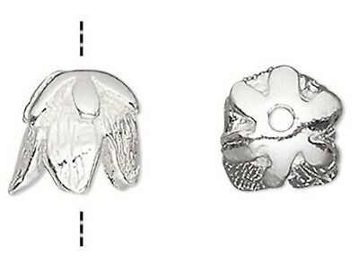 6 Sterling Silver Bell Flower Bead Caps / 5.5x5mm / For 5-6mm Beads