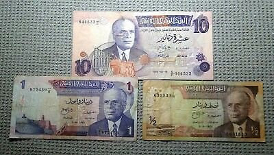 Tunisia Three Bank Notes 1972-1973. 1/2, 1 And 10 Dinars