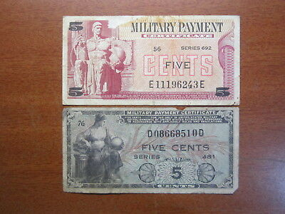 United States Military Payment Certificate Series 481 & 692 5 Five Cents