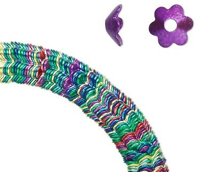300 Multi Jewel Tone Steel Daisy Flower Bead Caps / 7x3mm / Fits 8-10mm Beads