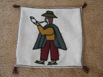 Peru Hand Woven White Throw Pillow Cover Only w Applique Man Rustic Folk Art VTG