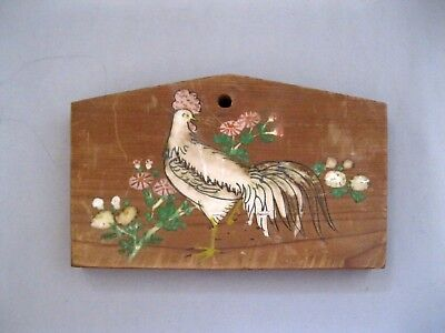 Vtg Japanese Ema Wooden Prayer Board~Hand Painted White Rooster~Engraved On Back