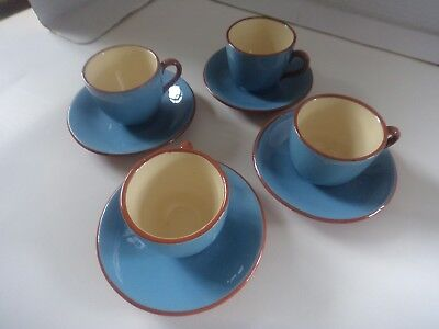 set 4 cups & saucers Dartmouth pottery hand made coffee expresso size vintage