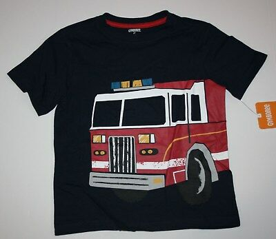New Gymboree Boys Red Fire Truck Graphic Tee Top 12 18m 2T 3T 4T 5T NWT Navy