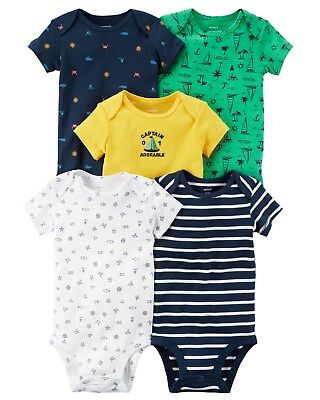 New Carter's 5 Pack Bodysuits NWT NB 3m 6m 9m 12m 18m 24m Boys Tops Nautical