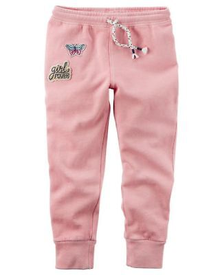 NEW Carter's French Terry Pants Girls Patch NWT 18m 3T 4T 5T 6 7 8 Pink Joggers