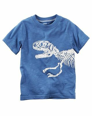 New Carter's Dinosaur Graphic Tee Shirt Top NWT 4 5 6 7 Kid Boy's Front & Back