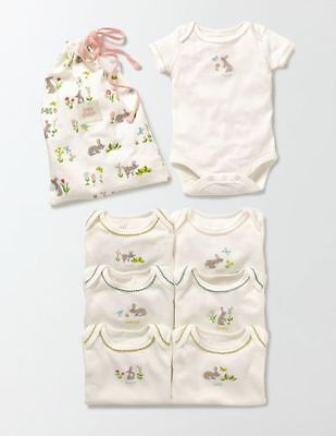 New Mini Boden 7 Pack Bodysuits Tops Girls Bunny Rabbit Ivory 18-24m Days of Wee