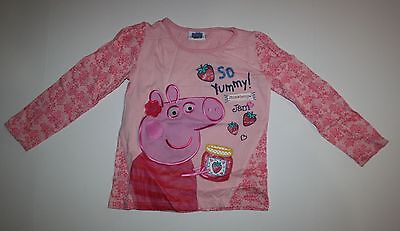 New Peppa Pig Applique Top Strawberry Jam So Yummy Size 3T 4T 104cm Pink Shirt