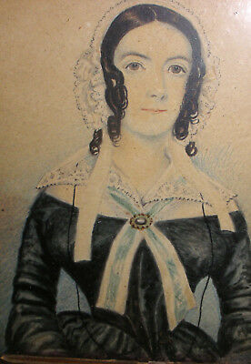 Antique 1800s English or American school young woman miniature portrait painting