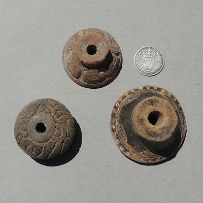 3 ancient precolumbian terra cotta clay spindle whorls #29