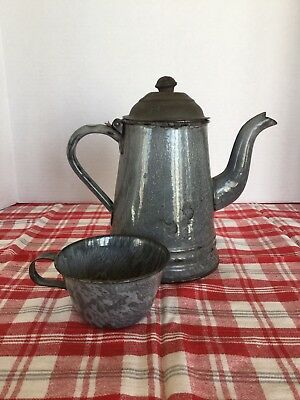 Antique Agate Coffee Pot And Coffee Cup Grey Graniteware Vintage Farm House