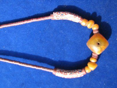 African Trade Beads Necklace. Vintage Venetian Glass Beads And Copal Amber.
