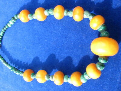 African Trade Beads Necklace. With Copal Amber.