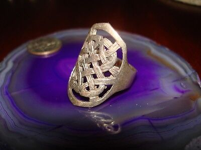 Beautiful Vintage Sterling Silver Celtic Filigree Ring.925 Sz-10.75