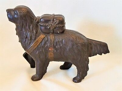 Antique Cast Iron St. Bernard With Pack Coin Bank Early 1900's-AC Williams
