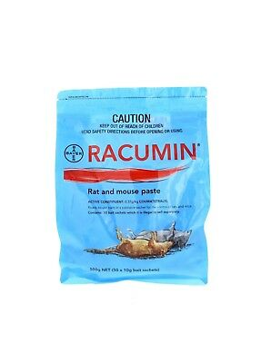 Racumin Rat and Mouse Paste Bait 50 Sachets Coumatetralyl Bayer 500g
